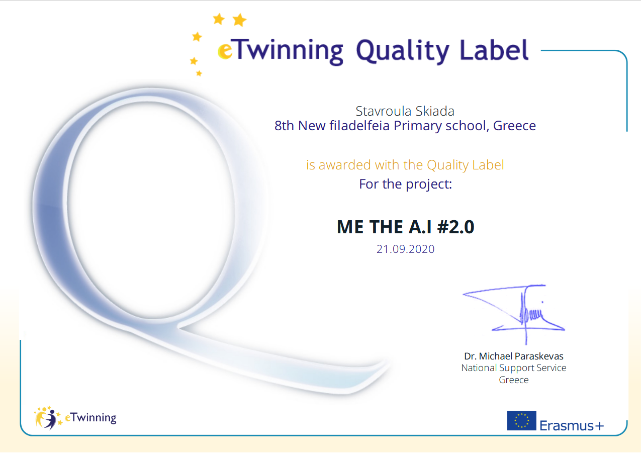 eTwinning Quality Label MeTheAI2